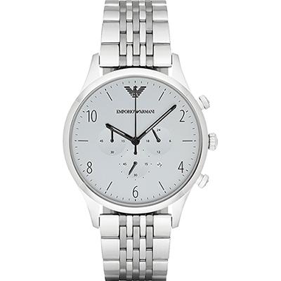 Emporio Armani Classic 紳士復刻經典計時腕錶-灰x銀/43mm