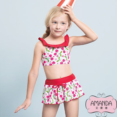 AMANDA 女童泳裝 二截裙-紅桃粉-5801附帽