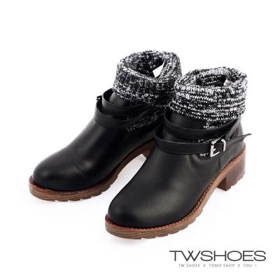 TW Shoesx正韓空運-反摺針織襪繫帶扣環短靴-黑