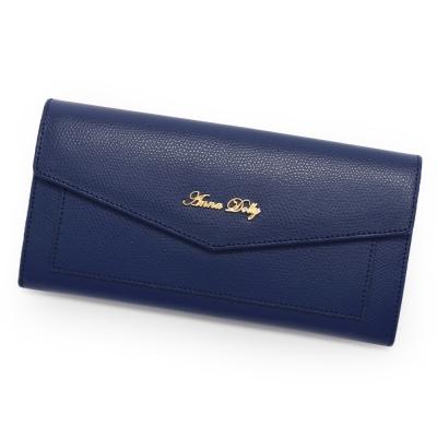 ANNA DOLLY 法式微醺French牛皮信封長夾 靛寶藍