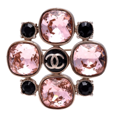 CHANEL-經典雙C-LOGO-復古方圓彩色寶石