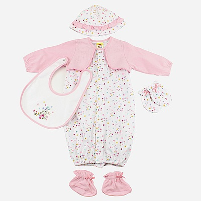 愛的世界 MYBABY 純棉假兩件長袖兩用嬰衣5件組禮盒/3~6M