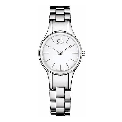 Calvin Klein 高雅婉約石英女錶(K4323126)-白色/28mm