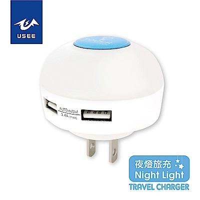 USEE 雙孔3.4A三段觸控式夜燈旅充 UWT 234L-7