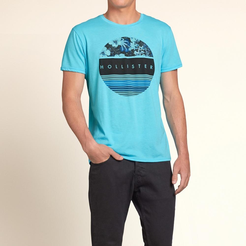 HOLLISTER Co. 男裝花式圓標短T恤(水藍)-薄款