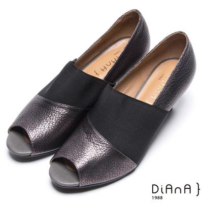 DIANA 時髦簡約--韓系異材質拼接魚口跟鞋-錫