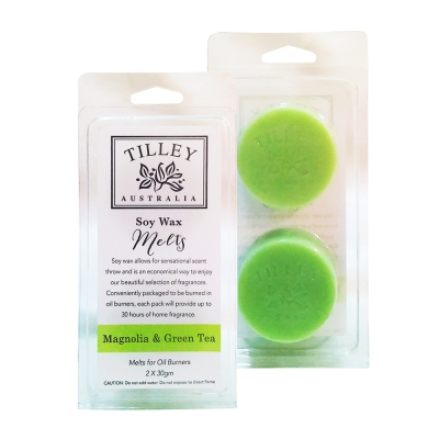 Tilley百年特莉 木蘭花&綠茶香氛大豆蠟60gx2盒組(圓形)