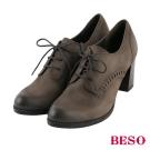 BESO復古摩登 綁帶擦色全真皮粗跟牛津鞋~灰