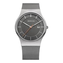 BERING丹麥精品手錶 簡約刻度日期顯示米蘭帶系列 藍寶石鏡面 銀灰38mm
