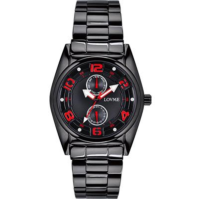 LOVME 彩色三角指針時尚潮流腕錶-IP黑x熱情紅刻度/42mm