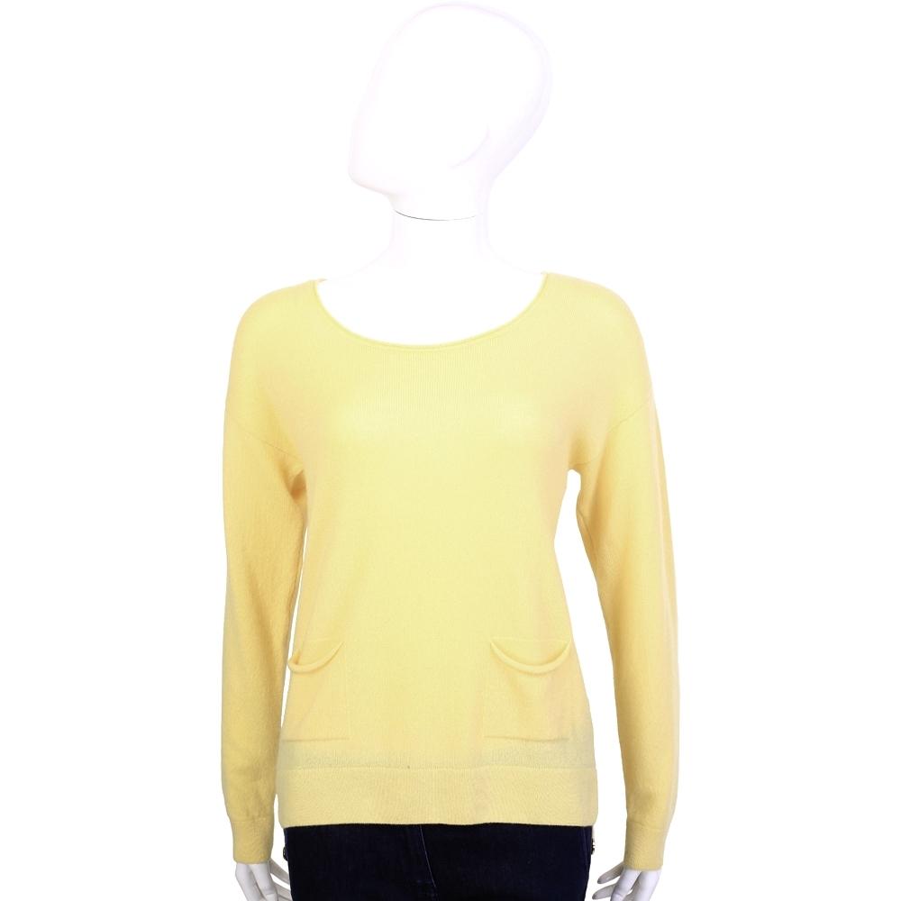 Andre Maurice 100%CASHMERE 黃色後排釦設計長袖毛衣