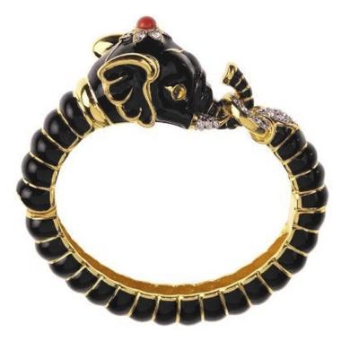 Kenneth Jay Lane 好萊塢巨星最愛 大象手環 黑色 鑲水晶華麗搪瓷 附原廠盒