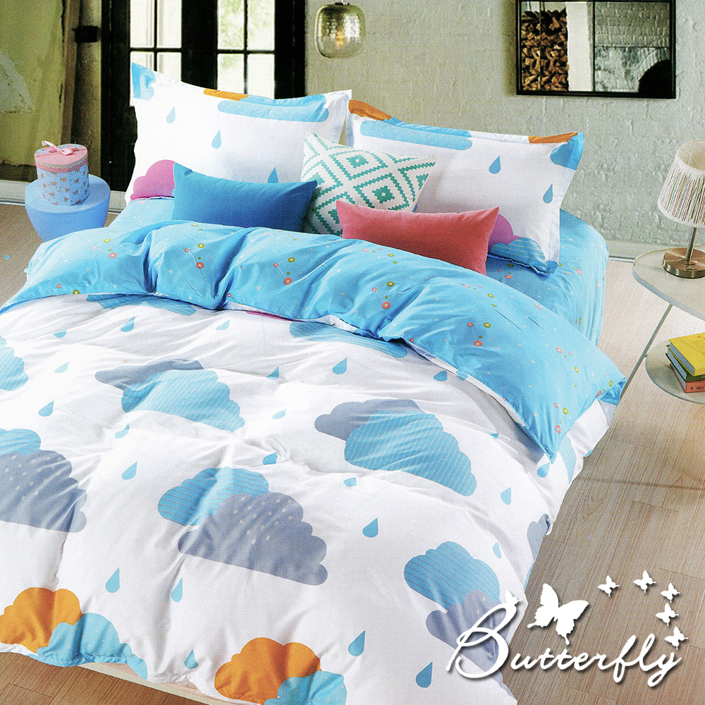 BUTTERFLY 柔絲絨 雙人薄床包枕套三件式  雨季