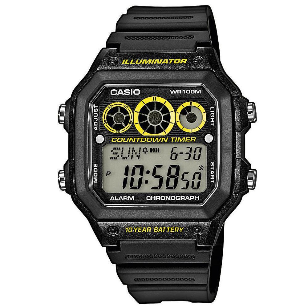 CASIO 10年電力亮眼設計方形數位錶(AE-1300WH-1A)-黑框x黃錶圈/42mm