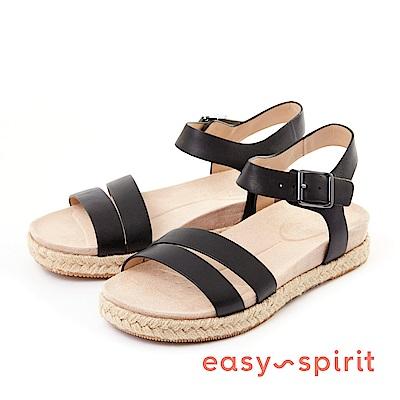 Easy Spirit--條帶草編厚底涼鞋-簡約黑