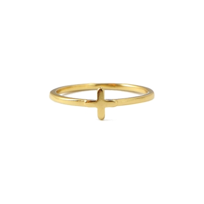 Gorjana CROSS 簡約小十字架金色尾戒指節戒指