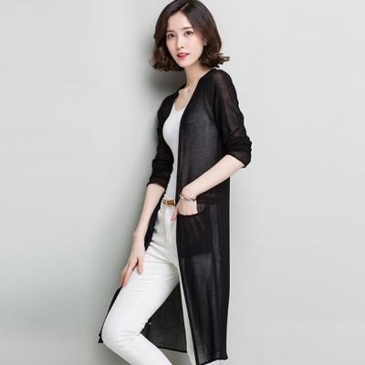 La Belleza雙口袋薄棉罩衫竹節棉長版外套