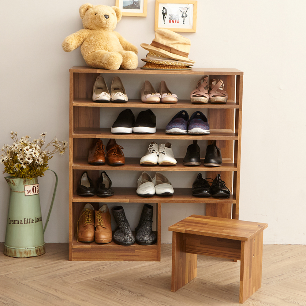 澄境 工業風80公分開放式附椅凳收納鞋櫃80x30x90-DIY