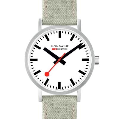 MONDAINE 瑞士國鐵 Classic限量腕錶-白x灰綠錶帶/40mm