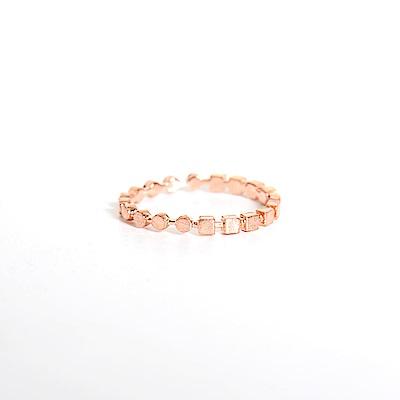 微醺禮物戒指正韓純銀鍍K金鋯石一半方一半圓創意女戒