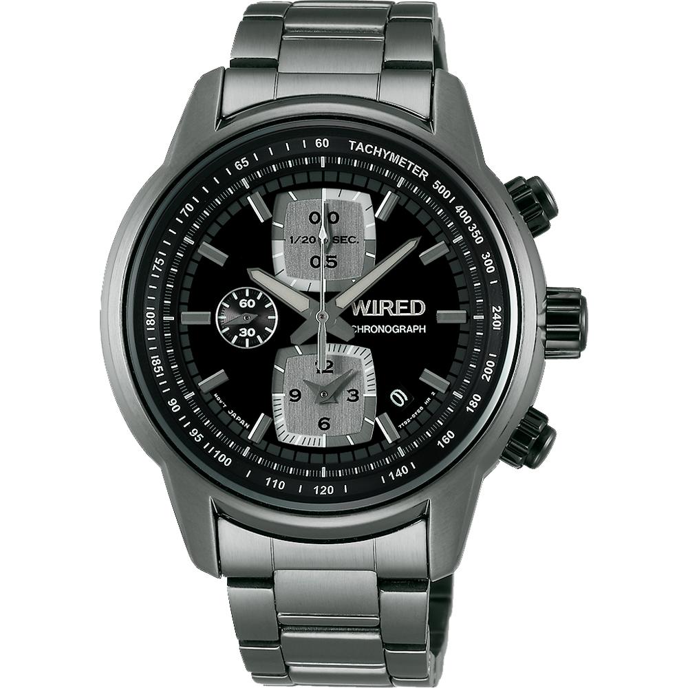 WIRED Reflection 時空跳躍計時碼錶(AF8U21X1)-黑x鍍灰/43mm