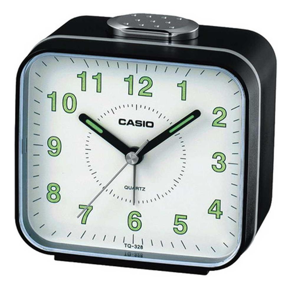 CASIO 桌上型指針方形鬧鐘TQ-328-1D(黑)
