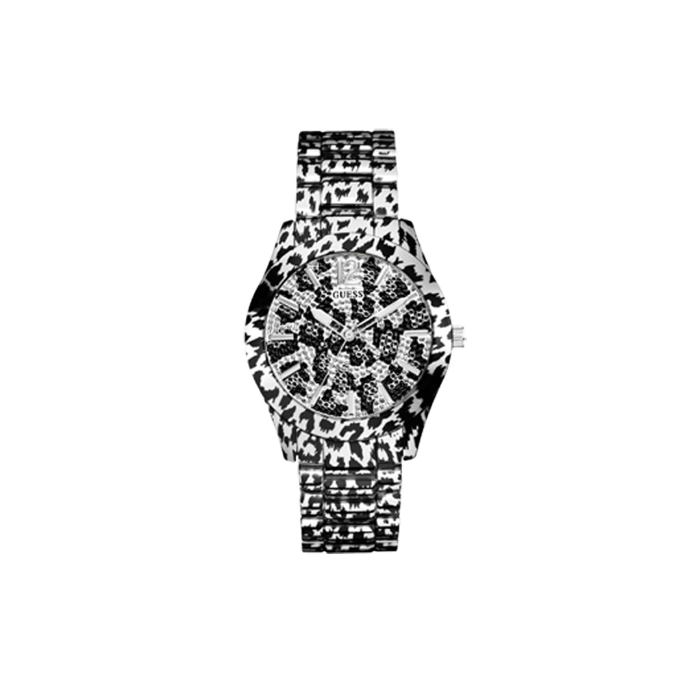 GUESS 艷夏狂熱豹紋風晶鑽腕錶-銀/40mm