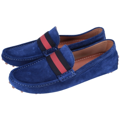 GUCCI Driver 條紋織帶麂皮豆豆樂福鞋(藍色)