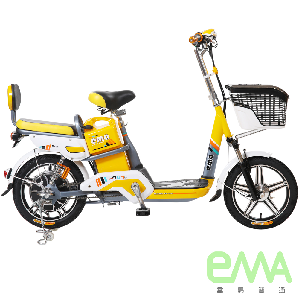 【EMA雲馬】EMA A+ 電動 48鉛酸 LED 後雙避震 電動自行車 灰黃