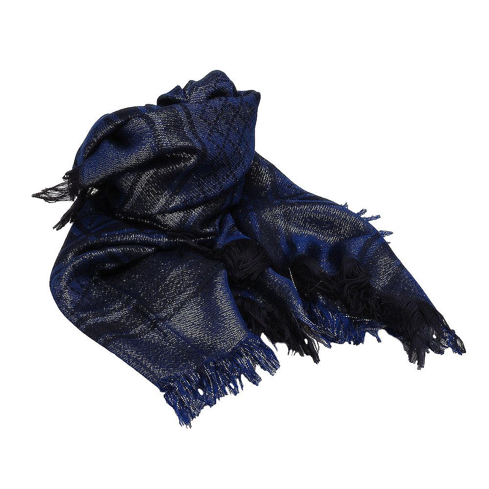 GUCCI 經典Diamante系列X格紋混羊毛金蔥流蘇圍巾(深藍)