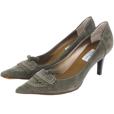PHILOSOPHY 綠色流蘇麂皮尖頭跟鞋(展示品)