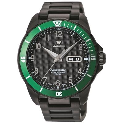 J.SPRINGS Authentic Sports自動上鍊機械錶款-黑/綠-45mm