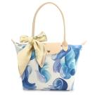 Longchamp Splash 花漾清新圖騰小型水餃包(長把/藍莓色)-加贈帕巾