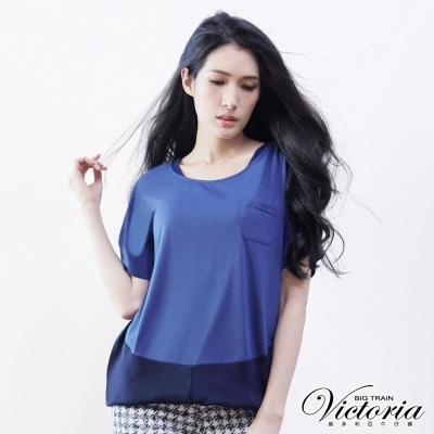 Victoria 燒花條紋變化T-女-深藍