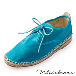 Chichi 舒適休閒 絨布綁帶草編休閒鞋*淺藍色