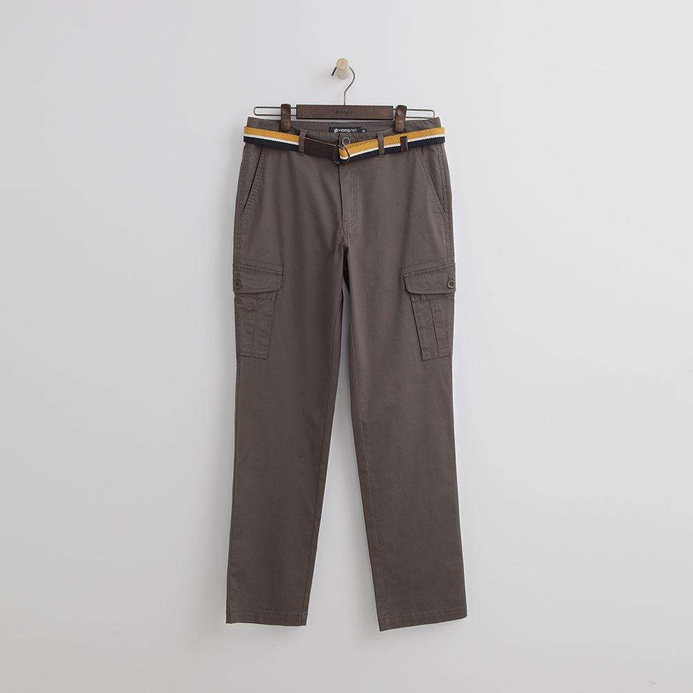 Hang Ten - 男裝 - 雙釦腰帶休閒長褲-咖啡色