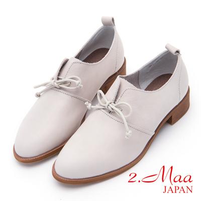 2.Maa - 休閒風牛皮文青牛津鞋 - 米
