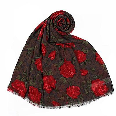 COACH 經典LOGO玫瑰花卉圖案modal莫代爾輕盈薄圍巾-咖啡/紅色