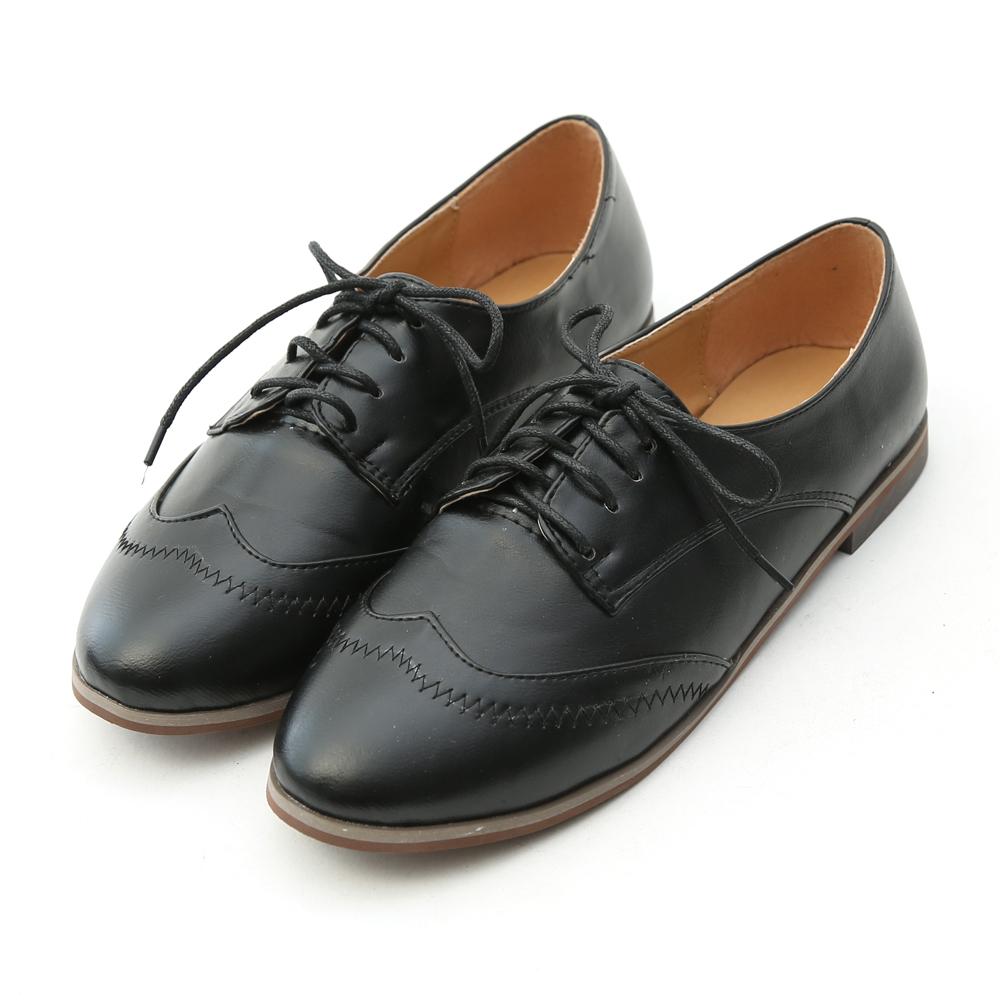 D+AF 優質展演.W型綁帶平底牛津鞋*黑