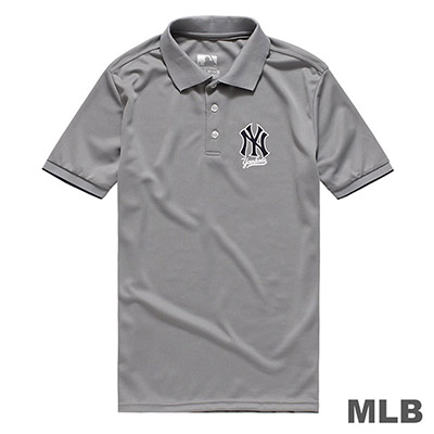 MLB-紐約洋基隊LOGO印花快排POLO衫-灰 (男)