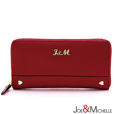 J-M-真皮巧菲絲拉鍊長夾-甜莓紅