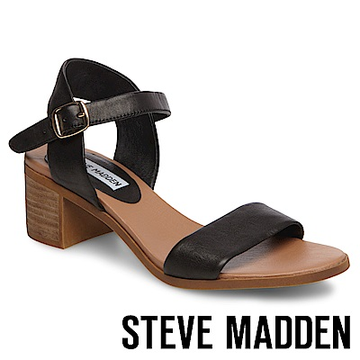 STEVE MADDEN-APRIL-真皮質感素面粗跟鞋-黑色