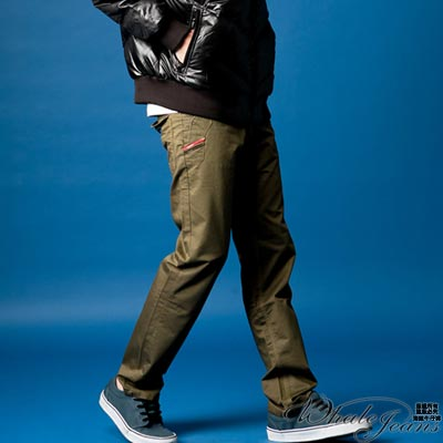 WHALE JEANS 男款造型時尚窄版休閒褲(2色)_綠