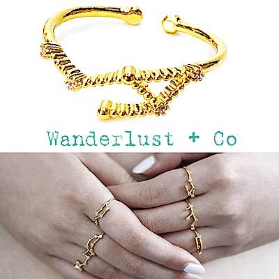 Wanderlust+Co 澳洲品牌 天秤座戒指 金色鑲鑽戒指 LIBRA