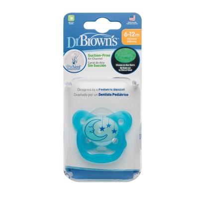 美國Dr Brown  PreVent功能性夜光安撫奶嘴 藍2入6-12月(附收納盒