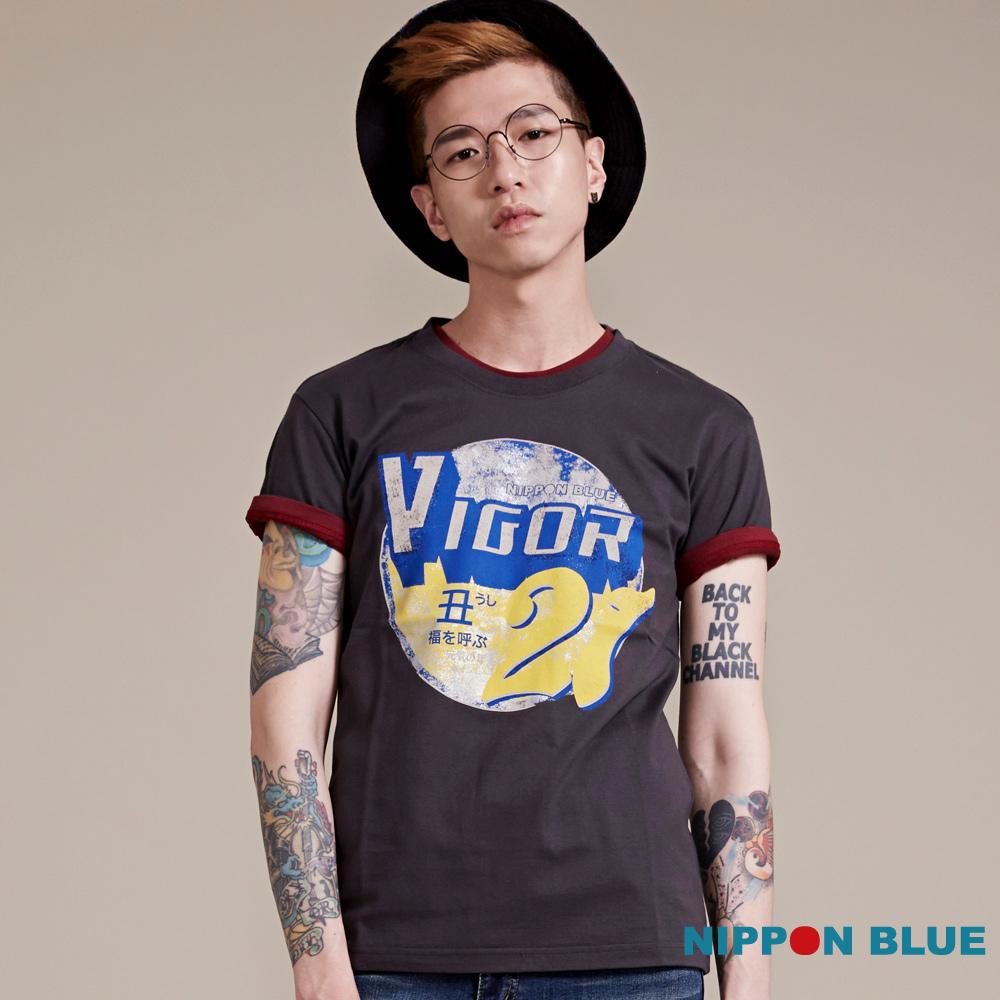 日本藍 BLUE WAY 日本藍元氣印花短袖TEE-灰