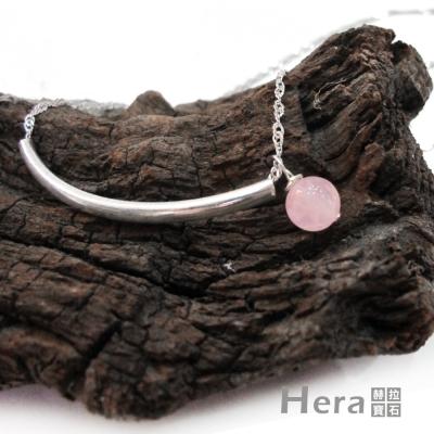 Hera 925純銀手作天然粉晶U形項鍊/鎖骨鍊