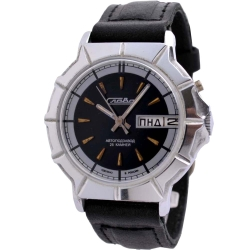 俄羅斯Slava古典機械錶-黑/39mm
