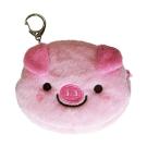 UNIQUE 動物樂園毛絨零錢包。粉紅豬
