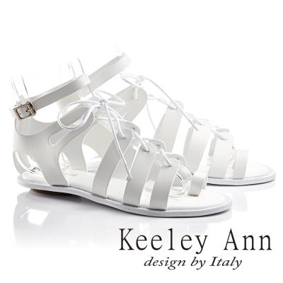 Keeley Ann視覺饗宴綁帶真皮平底羅馬涼鞋(白色-Ann系列)